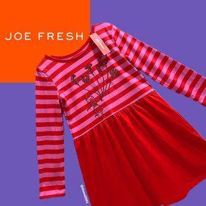 "NWT Joe Fresh Girls ""Cutie"" Red/Pink Stripe Dress"